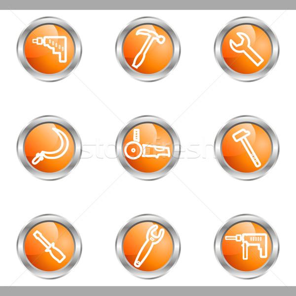 Conjunto os ícones do web 31 metálico Foto stock © Fyuriy