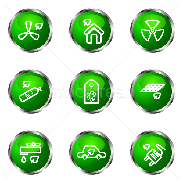 Foto stock: Establecer · iconos · de · la · web · 17 · verde
