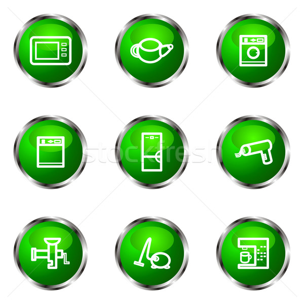 Lucido set icone web verde colore Foto d'archivio © Fyuriy