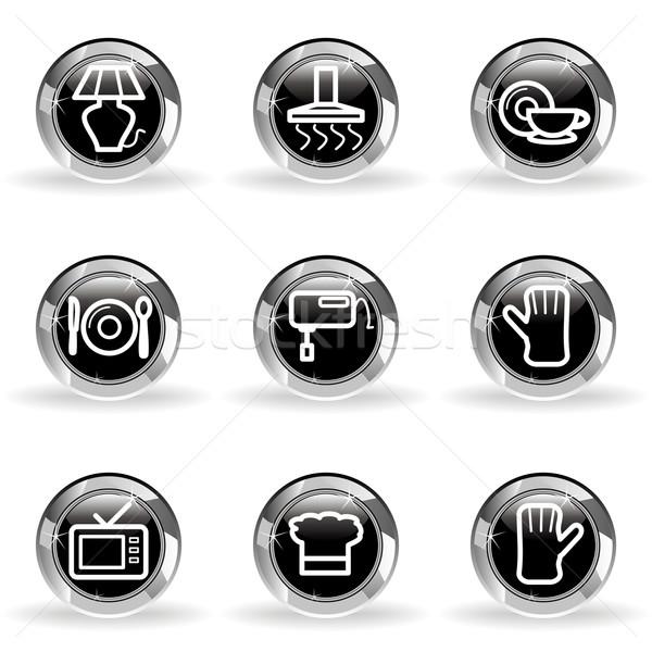 Lucido set icone web nero cerchio Foto d'archivio © Fyuriy