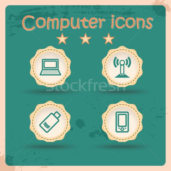 ícones do computador conjunto vintage símbolo retro textura Foto stock © Fyuriy