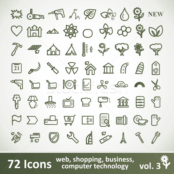 Green large Icons Set. Vector Collection Stock photo © Fyuriy