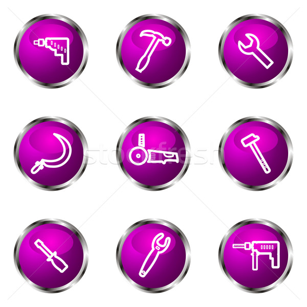 Conjunto os ícones do web 31 violeta Foto stock © Fyuriy