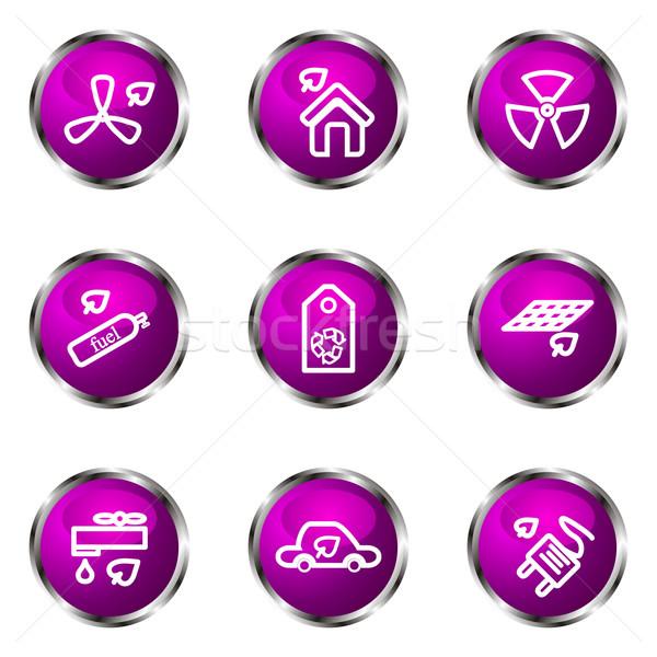 Сток-фото: набор · веб-иконы · 17 · фиолетовый