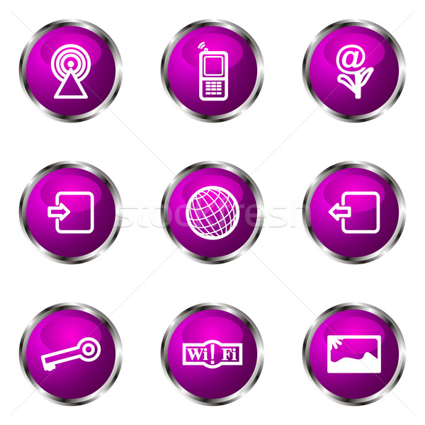 Сток-фото: набор · веб-иконы · 14 · фиолетовый