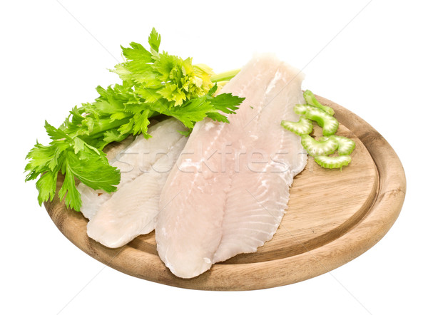 Fresh fish fillets with spices and celery Stock photo © g215