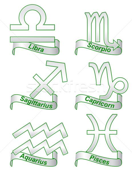Сток-фото: зодиак · признаков · белый · фон · Живопись · лев
