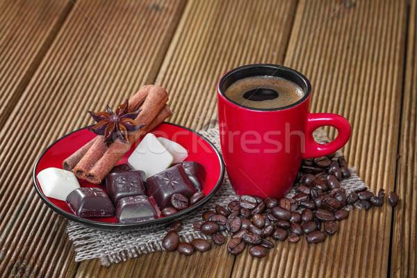 Caffè rosso Cup cannella anice stelle Foto d'archivio © g215