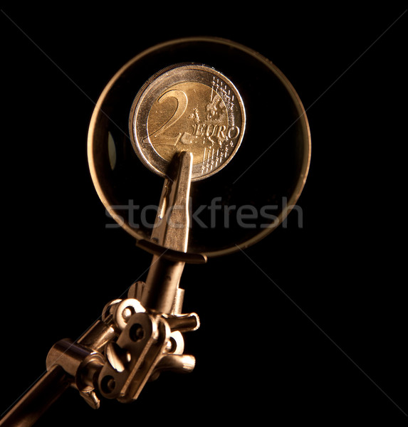 Euro coins under magnifying glass Stock photo © g215