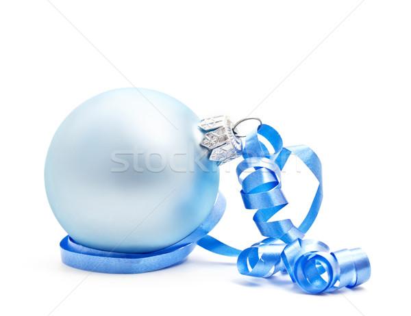 Blue Christmas ball on white background Stock photo © g215
