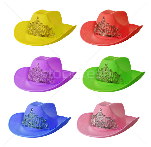 set of multi-colored cowboy hat isolated on white background. Stock photo © g215