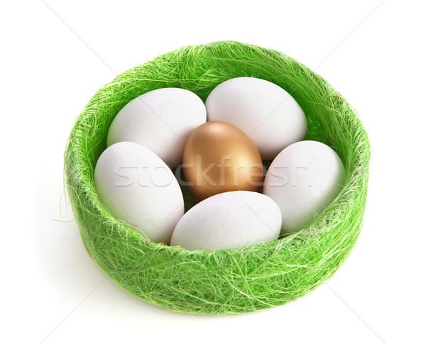 белый золото яйца гнезда трава Пасху Сток-фото © g215