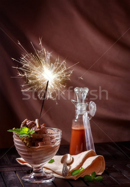Greeting card with ice cream and a sparkler Stock photo © g215