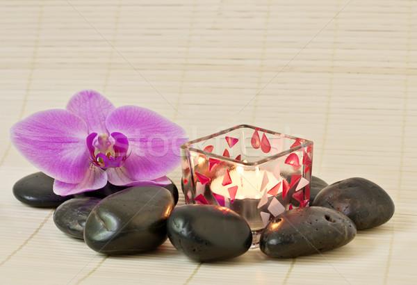 Pembe orkide zen taşlar mum güzellik Stok fotoğraf © g215