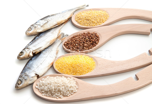 Set cereals and dried fish  Stock photo © g215