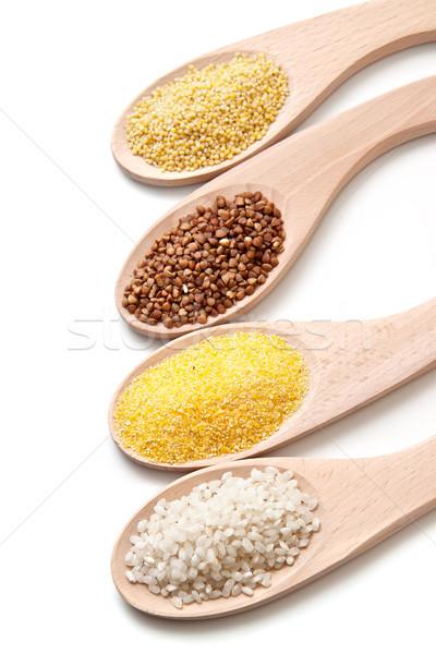 Establecer cereales dieta saludable salud fondo verde Foto stock © g215