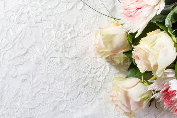 Bruiloft rozen kant bloem steeg abstract Stockfoto © g215