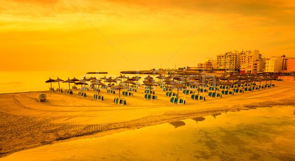 Panoramic image of sunrise on the beach in Mallorca. Europe. Spain Stock photo © g215