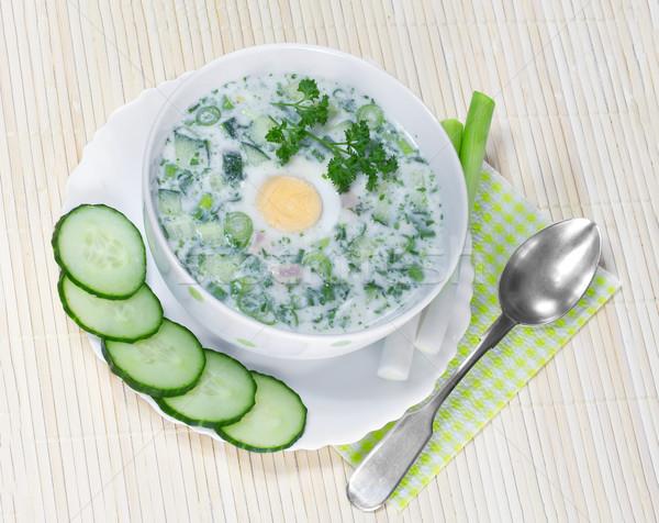 Stock fotó: Nyár · hideg · leves · zöldségek · étel · tojás