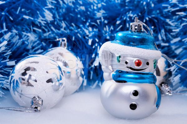 Natal alegre boneco de neve vidro inverno cor Foto stock © g215