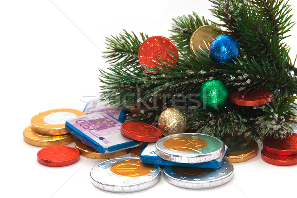 Snow-covered fir branches, decorated with colorful balloons. Stock photo © g215