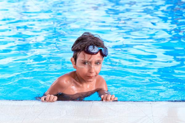 портрет мальчика бассейна воды улыбка спорт Сток-фото © g215
