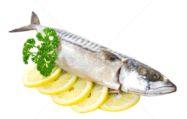 Salted mackerel with lemon on a white background Stock photo © g215