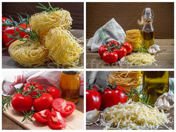 ストックフォト: パスタ · トマト · ハーブ · 木製のテーブル · 緑 · 油