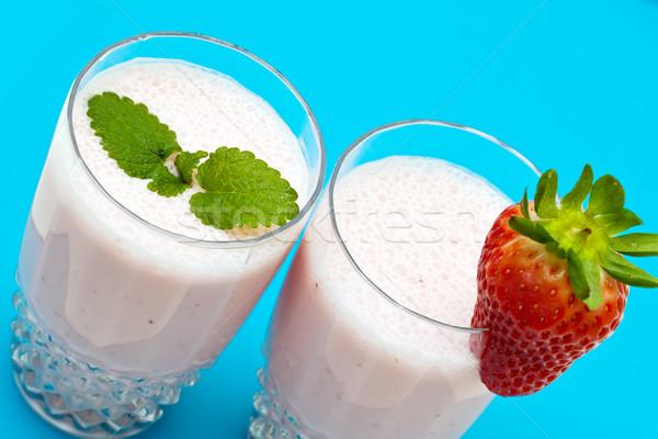 イチゴ 青 食品 背景 ミルク 食べ ストックフォト © g215