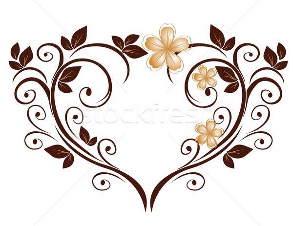 Cuore modello di fiore fiore wedding foglia bellezza Foto d'archivio © g215