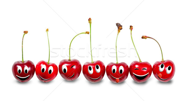 Grupy wiśni odizolowany biały funny Zdjęcia stock © g215