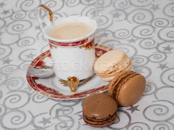Francês macarons copo café amor natureza Foto stock © g215