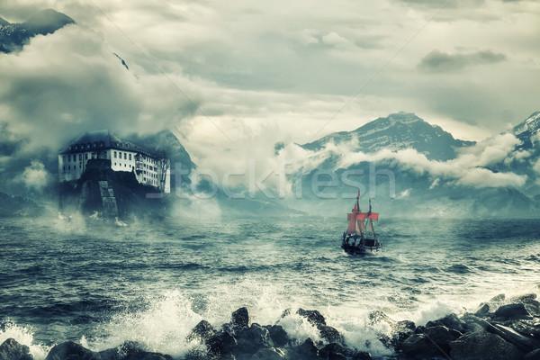 Stok fotoğraf: Manzara · dağlar · deniz · gökyüzü · orman