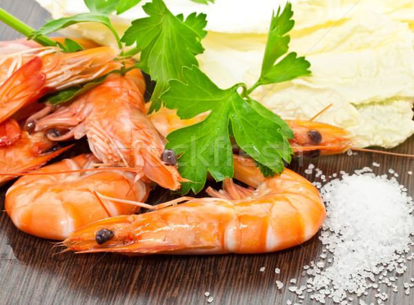 Prawns with a sprig of parsley and salad Stock photo © g215