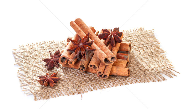 Cinnamon and star anise on sacking Stock photo © g215