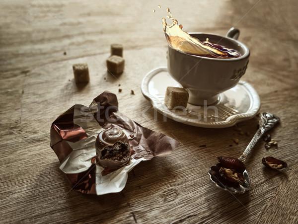 Csendélet teáscsésze cukorka kávé terv háttér Stock fotó © g215