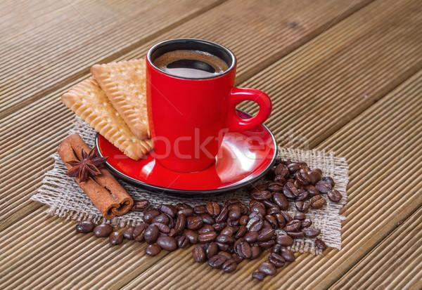 Café vermelho copo canela anis estrelas Foto stock © g215