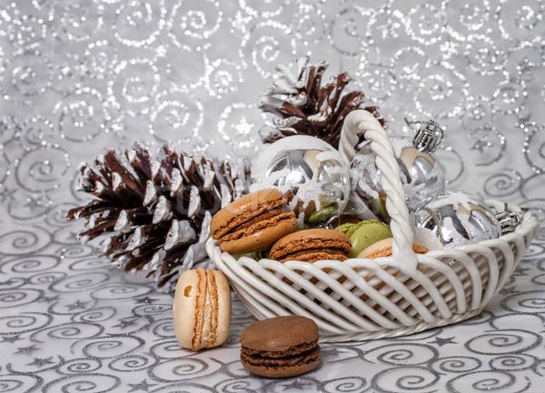 Рождества французский macarons продовольствие Vintage шаблон Сток-фото © g215