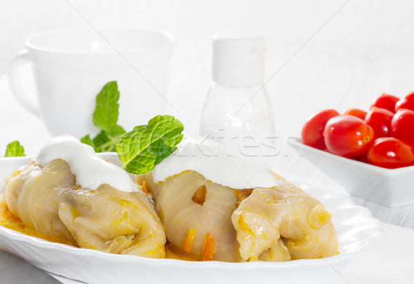 Cabbage rolls with rice and meat Stock photo © g215