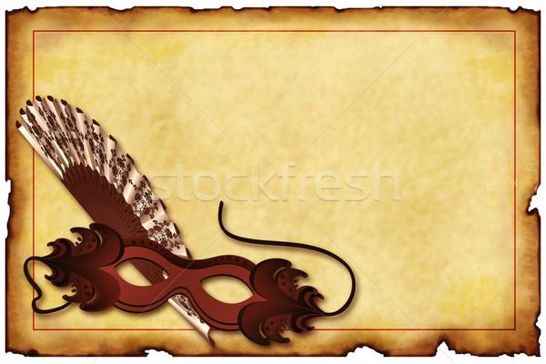 старые открытки карнавальных маске лице фон Сток-фото © g215
