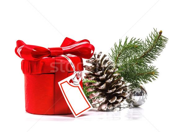 Piros ajándék karácsonyfa ág izolált fehér Stock fotó © g215