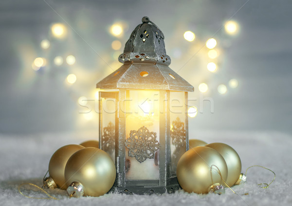 Christmas background with lantern and balls. Stock photo © g215