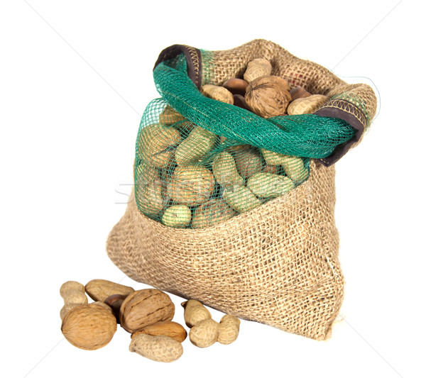 mixture of nuts in a sack and isolated white background Stock photo © g215