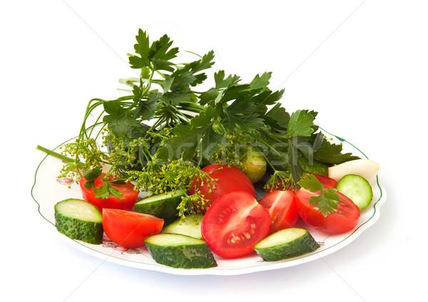 свежие овощи огурцы помидоров чеснока свежие травы Сток-фото © g215