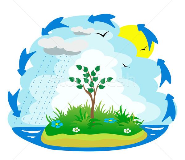 Ilustracja wody cyklu morza zielone życia Zdjęcia stock © g215