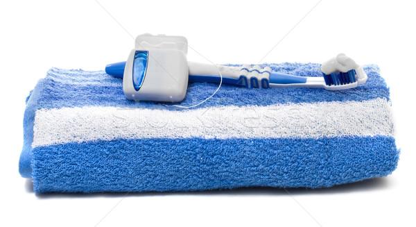 Flosdraad tandenborstel handdoek witte achtergrond borstel Stockfoto © g215