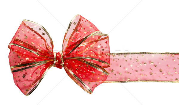 Festive red bow on white background Stock photo © g215