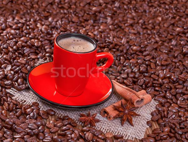 Kahve kırmızı fincan tarçın anason Yıldız Stok fotoğraf © g215