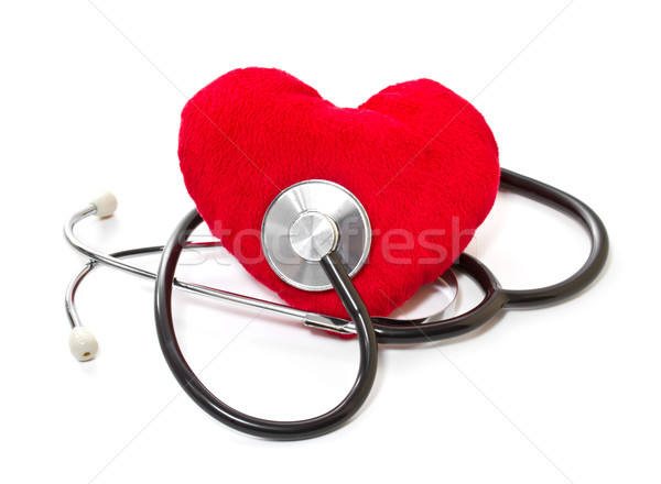 Medical stethoscope and plush heart on a white background Stock photo © g215