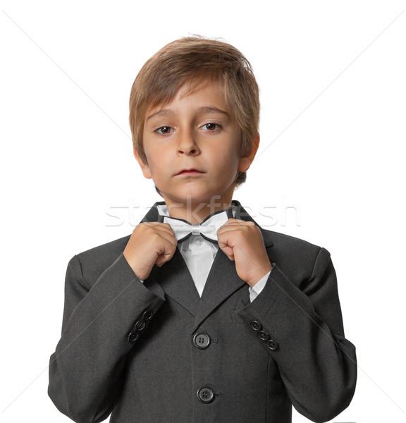 Weinig jongen smoking witte vlinder Stockfoto © g215